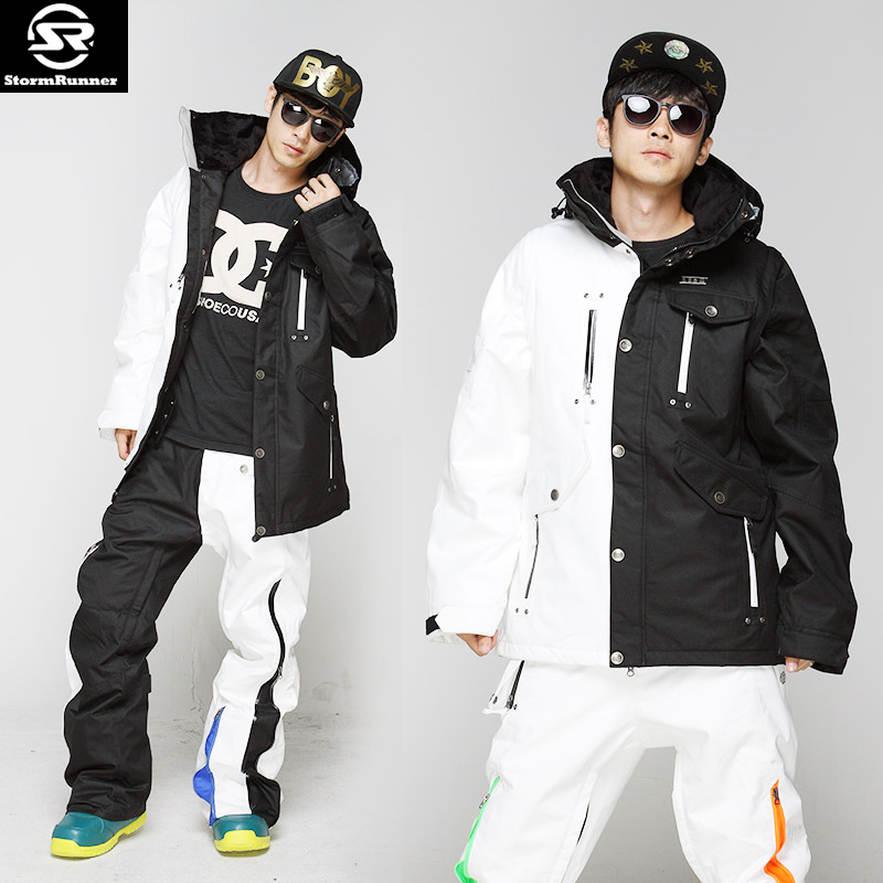 Бесплатная доставка StormRunner Новый одноплатный двойной Лыжный костюм, Водонепроницаемый, дышащий и теплый открытый мужской лыжный костюм s