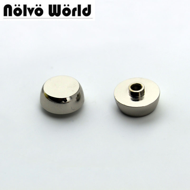 100% copper high quality 13mm round head metal silver stud DIY bag bottom rivets with screw fitting studs,50PCS wt 019 transparent bottom position cpu copper cold head silver black copper
