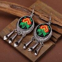 Long Handmade Earrings Made By Oriental Women Antique Silver Earrings Of Traditional Women S Pierced Ears