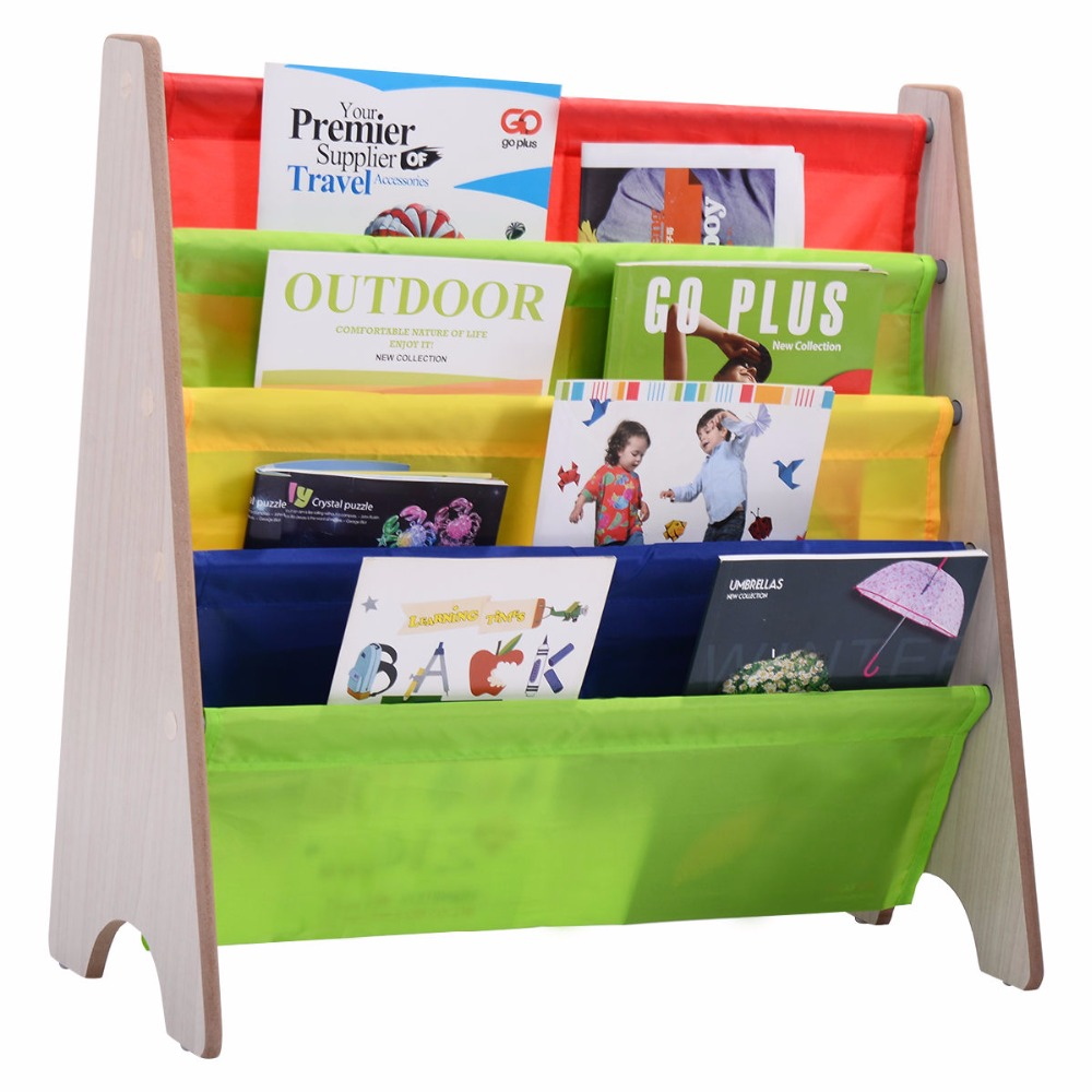 Goplus Kids Book Shelf Sling Storage Rack Colorful Wooden Organizer Children Bookcase Display Holder Natural New Cabinet HW53979 children s bookcase shelf bookcase cartoon toys household plastic toy storage rack storage rack simple combination racks