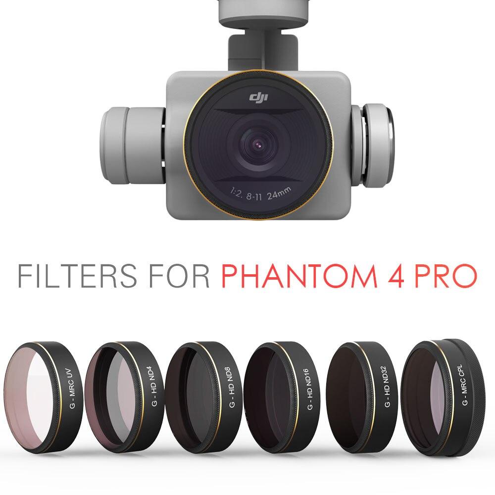 Pgytech DJI phantom 4 Pro Аксессуары объектив УФ-фильтры ND4 8 16 32 CPL фильтр Универсальный шарнир запчасти для квадкоптеров дронов на дистанционном управ...