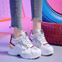 2019 New Summer High Platform Shoes Air Mesh White Breathable Casual Woman 9CM Wedge Heels Women Thick Sole Sneakers