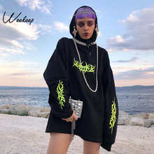 b4c7678a433861 Weekeep Loose Streetwear Black Sweatshirt Knitted Hooded Shinning Print  Moletom Long