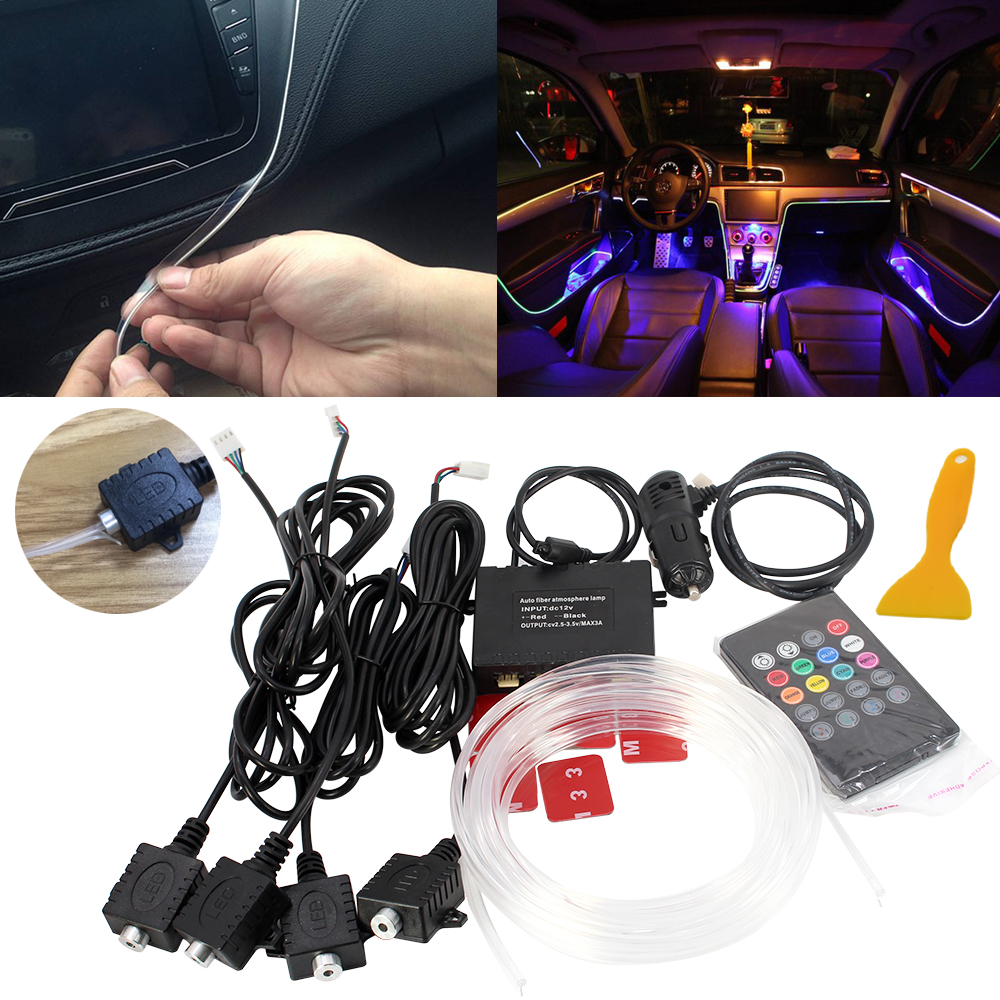 Atmosphere Lamp Light 8 colors For All Car Tuning Interior Music Sound Light Car Atmosphere Refit Optic Fiber Band Lights Inside cnsunnylight led car reading light interior luggage door lamp free refit portable emergency light for car home office bedroom