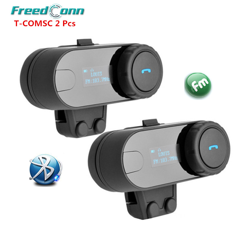 Freedconn FDC TCOM-SC Moto BT Interphone Earphones Bluetooth Motorcycle Helmet Intercom Headset with FM Radio LCD Screen 2Pcs 2016 newest bt s2 1000m motorcycle helmet bluetooth headset interphone intercom waterproof fm radio music headphones gps
