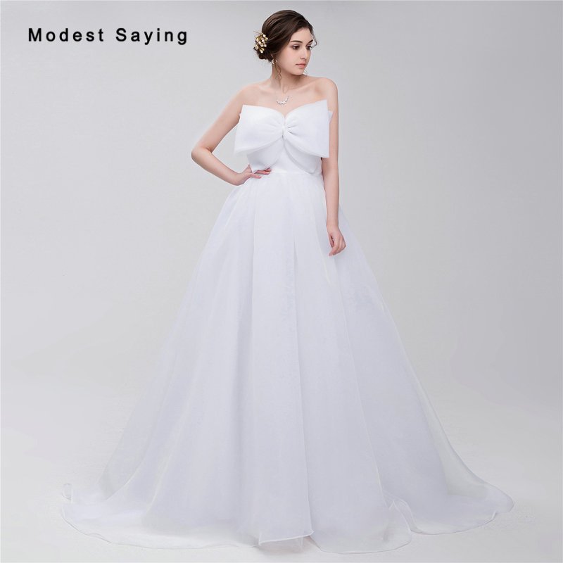 Simple White Ball Gown Wedding Dresses 2017 with Big Bow Formal ...