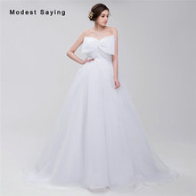 Simple White Ball Gown Wedding Dresses 2017 with Big Bow Formal Women Long Church Puffy Bridal Gowns vestido de noiva sereia