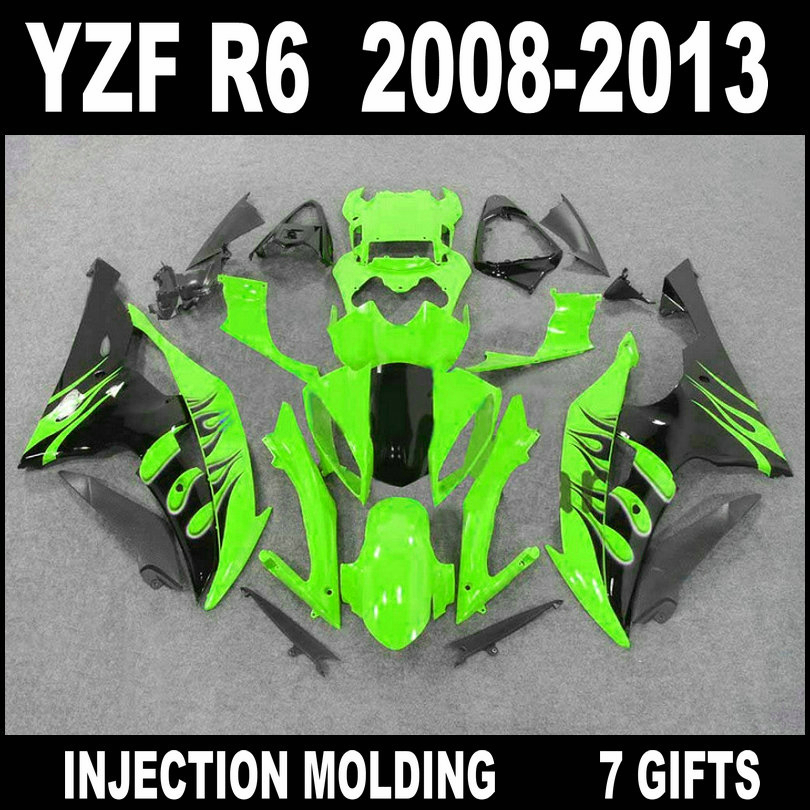 Plastic motorcycle parts for 08 09 10 11 12 13 <font><b>YZF</b></font> <font><b>R6</b></font> green with black flames <font><b>fairings</b></font> <font><b>2008</b></font> 2009 - 2013 YAMAHA <font><b>R6</b></font> <font><b>fairing</b></font> <font><b>set</b></font> image