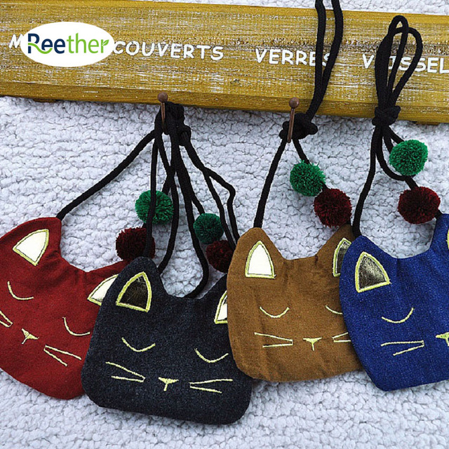 Reether Girls Shoulder Bag Cute Cat Bag Children's Dianonal Purse Fashion Cash Pouch Charge Wallet Decoration Gifts