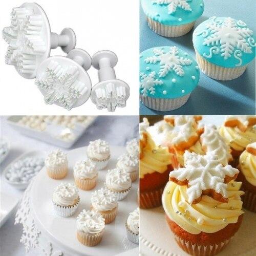 Conjunto de 3 relieve Snow Flake cookie Cutter, Snowflake fondant ...
