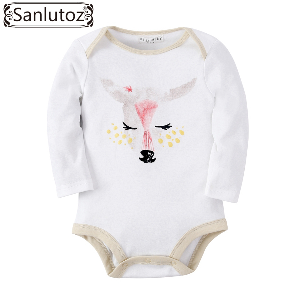 Sanlutoz Baby Romper Girl Cute Baby Clothes Jumpsuits Animal Deer Printing Costume Infant Clothing Winter Long Sleeve baby girl 1st birthday outfits short sleeve infant clothing sets lace romper dress headband shoe toddler tutu set baby s clothes