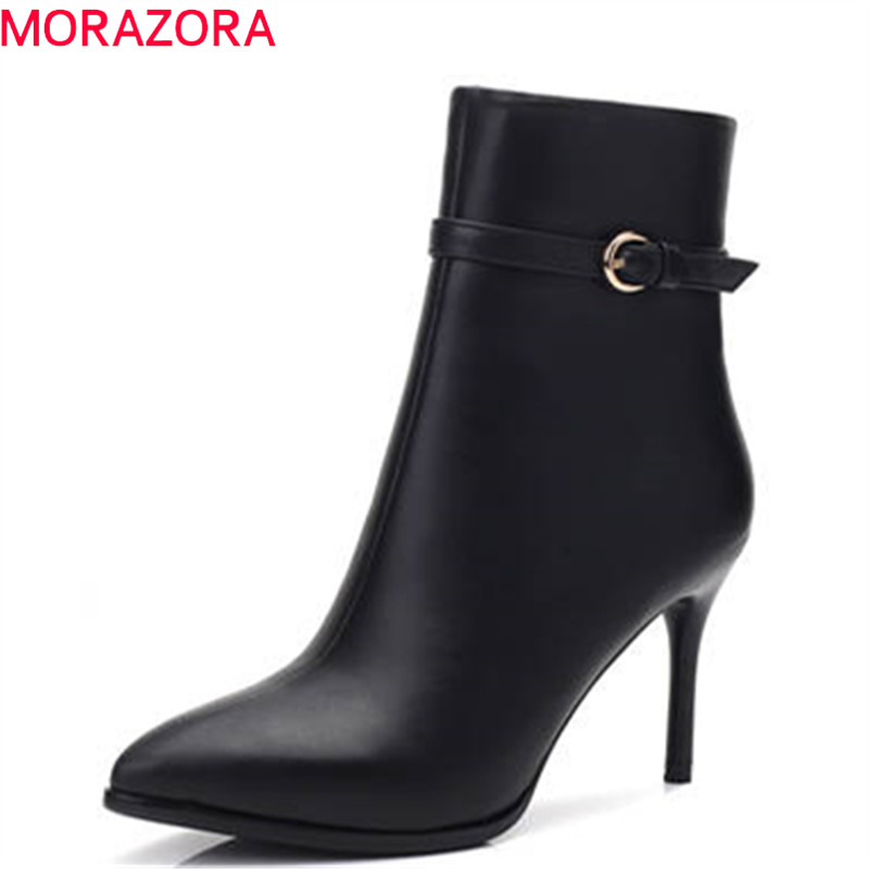 MORAZORA 2018 high quality genuine leather boots women pointed toe short plush autumn boots zipper thin high heels ankle bootsMORAZORA 2018 high quality genuine leather boots women pointed toe short plush autumn boots zipper thin high heels ankle boots