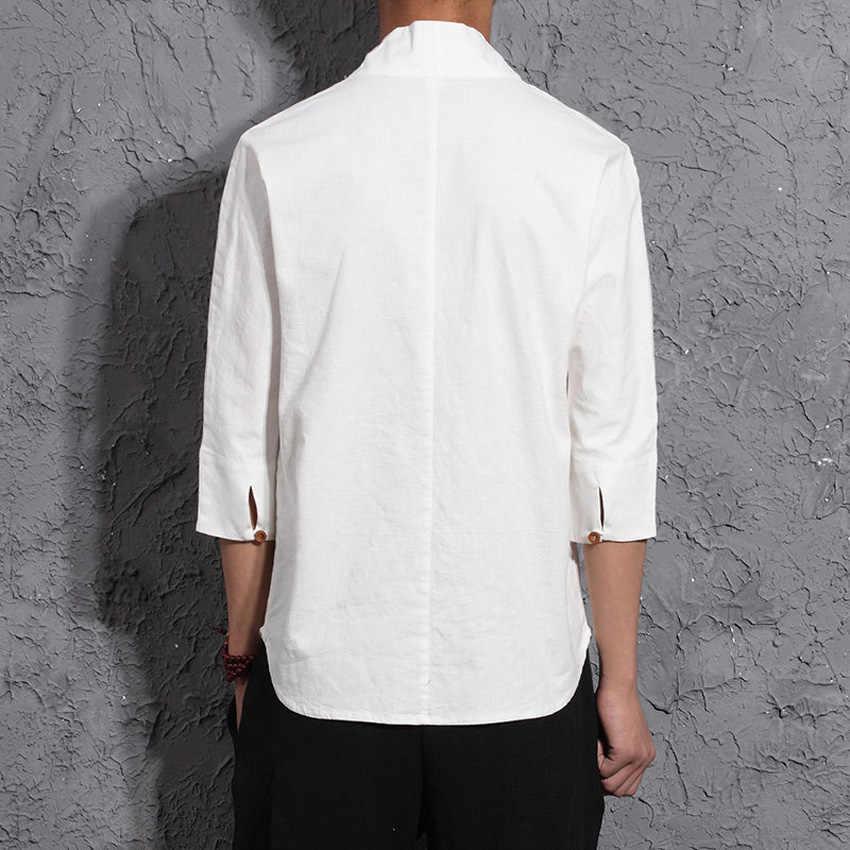 Восточный китайский стиль, мужские свободные льняные летние топы, костюм Тан, хлопковая льняная футболка для мужчин, ретро традиционный костюм в стиле династии Тан, наряды