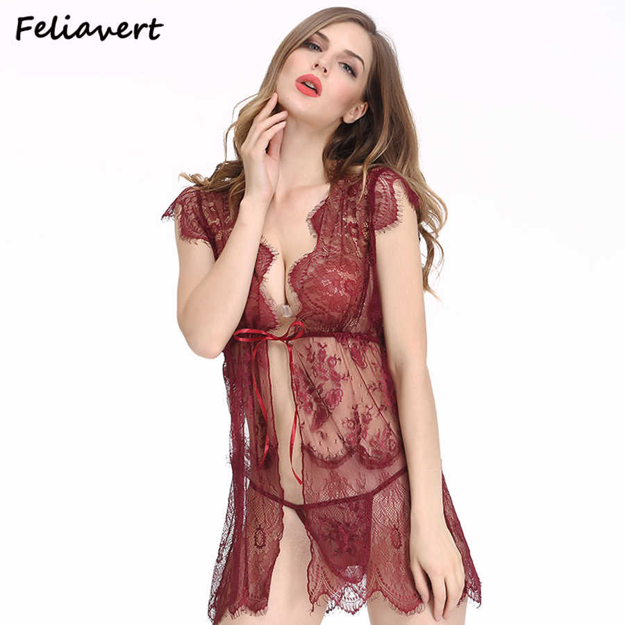 507cd11d2 High Quality Sexy Lingerie Perspective Pajamas For Women Lace Babydoll  Nightwear+G-String Sets