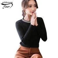 2017 החורף החדש סלים נשים חולצה חולצות ואגלי צווארון O בגדים בתוספת נשים גודל צמרות של נשים עם שרוולים ארוכים blusas D85 30