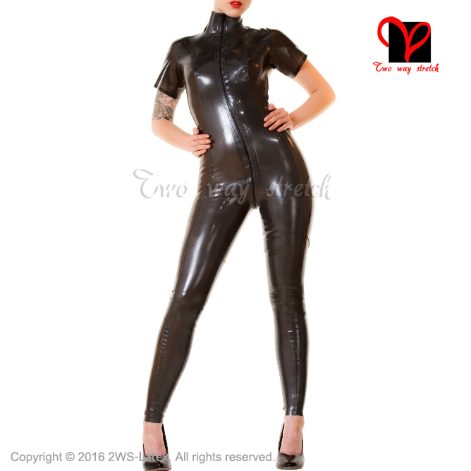 Sexy Latex font b Suit b font short sleeves two color Rubber Catsuit overall zentai jumpsuit