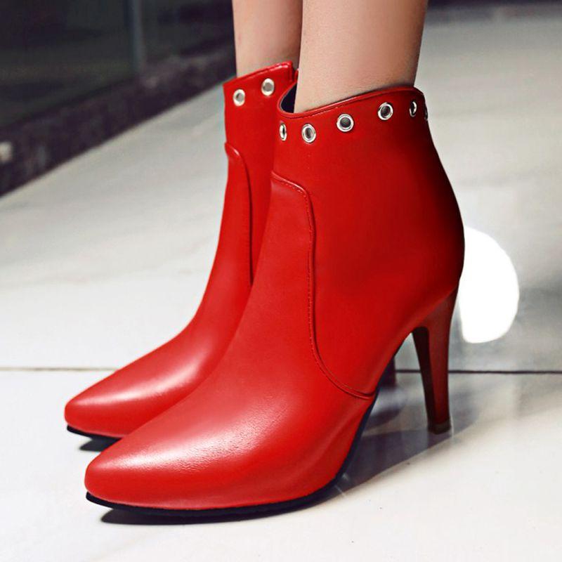 Botas Mujeres rojo Negro Nuevo 2017 Tacones Fur Nieve De Fur Toe Casual Zip Mujer Moda Pointed With Las red Tobillo A22 Zapatos Para Invierno Hebilla Sexy black dwRvR1q