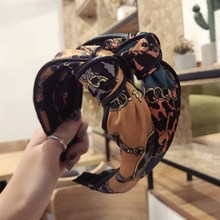 Korea High Quality Top Knot Print Retro Hair Accessories Band Bows Flower Crown Headbands For Women Pearl Hairbands