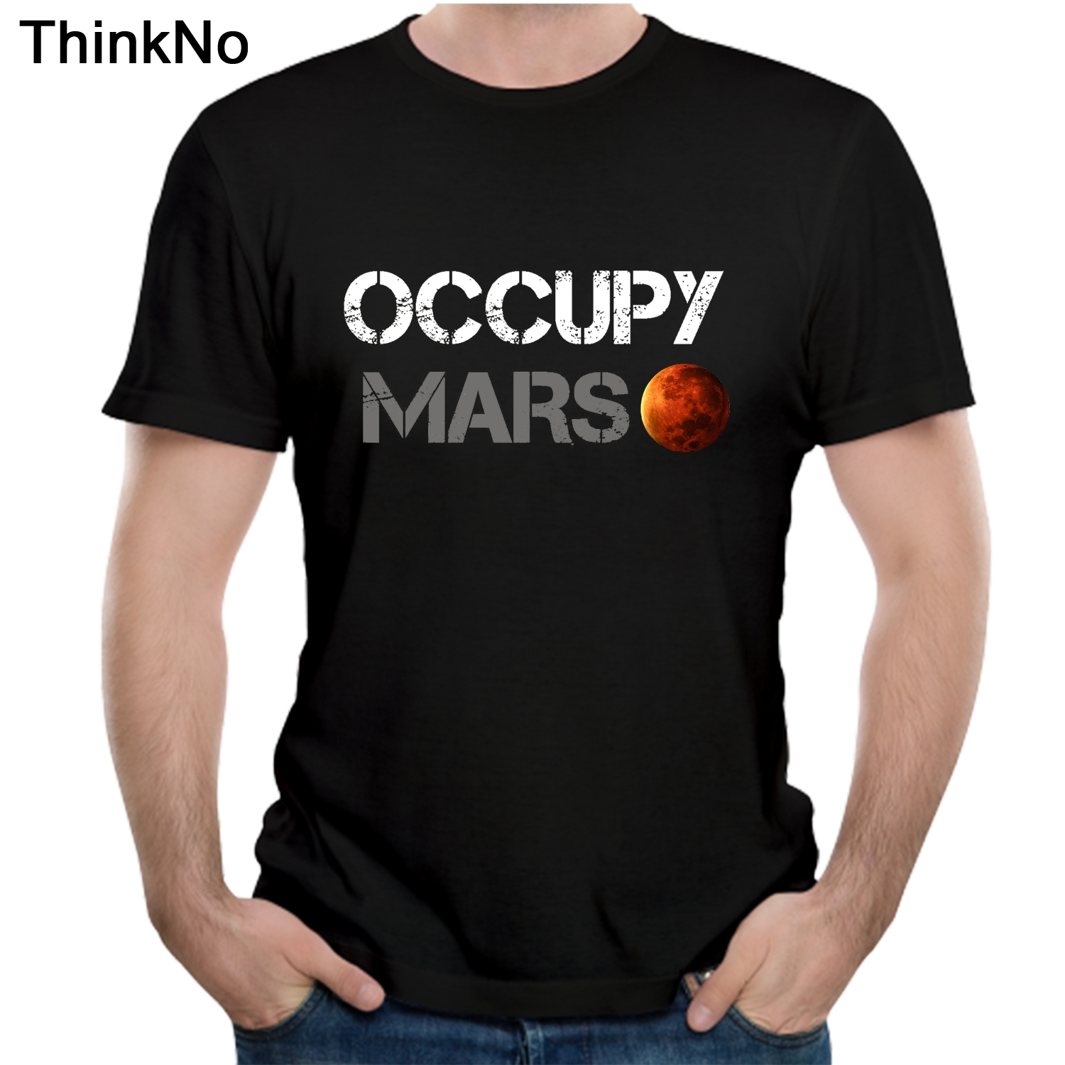 Space X   T     shirt   Tesla Tees Casual Top design Popualr Occupy Mars 100% Cotton Tee   SHIRT