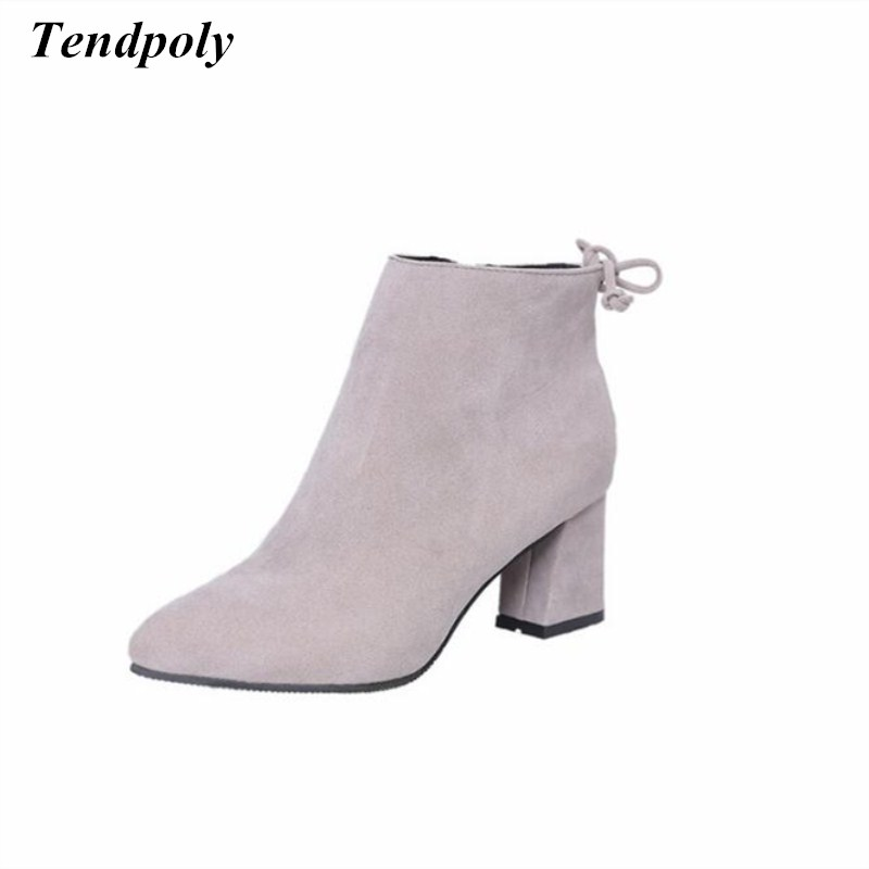 Spring  autumn with the new rough fashion Martin boots hot wild high-heeled boots pointy British large size casual women's boots цены онлайн