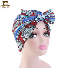 Hot New Women Elastic Cotton Turban Hat Chemo Bow Twisted Knotted turban Beanie Cap Hair Accessories for Girls Bandanas