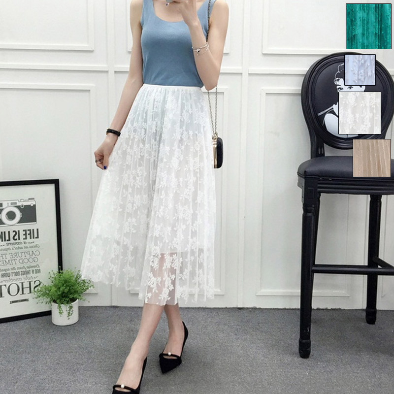 Fashion Women Elastic Waist Skirt Lace Flower Crochet Pleated Layers Tulle Long Skirts H9