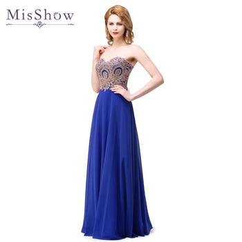 In stock A Line Sexy Sweetheart Gold Lace Appliques Royal Blue Chiffon Long Evening Dress Robe de Soiree Longue Vestido De Noche