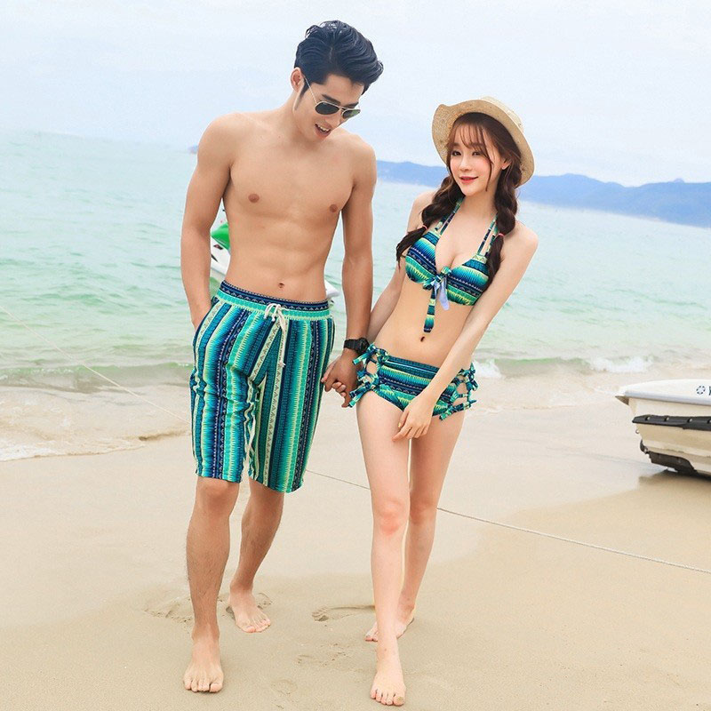 Picemice Couple Swimwear Lovers Swimsuit Quick Dry