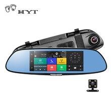 """HYT H760 7 """"3G Espejo Retrovisor DVR Cámara de Doble Lente del coche Android 5.0 1080 P Grabador de Vídeo detector de Coches de Navegación GPS Dash Cam"""
