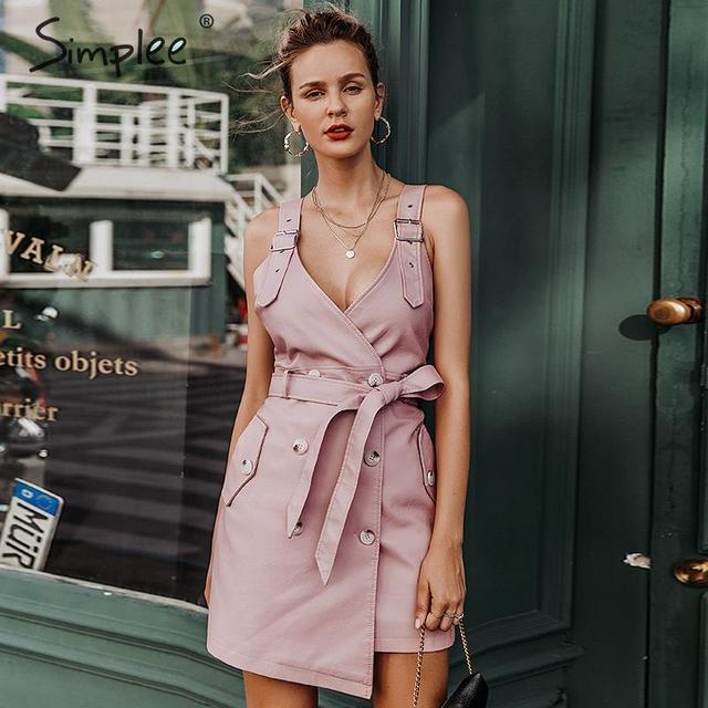 Simplee Faux PU leather women dress V neck short A-line sexy dress Button sash belt autumn winter mini club dress ladies