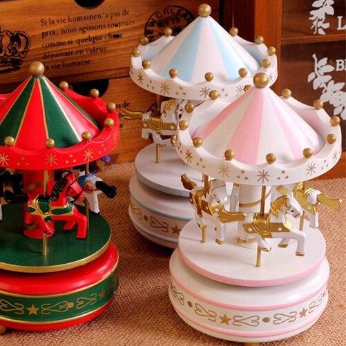 Vintage Blue Wooden Merry Go Round Carousel Miniatures Kids Children Girls Christmas Birthday Gift Toy