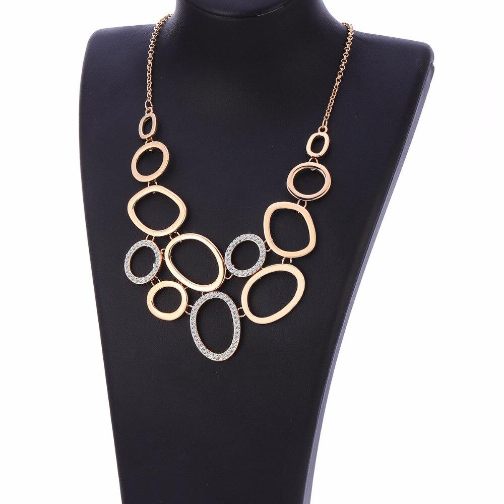 Femmes déclaration Collier et pendentifs élégant or cristal cercles connecter à la mode Collier pour les femmes fête mode bijoux fête
