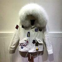 Yeni stil İtalya tasarım zarif çiçek desen saf beyaz kürk ceket gerçek yaka kürk kapşonlu coat kış kürk ceket