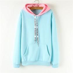 Oversized Hoodies Women Korean Harajuku Hooded Sweatshirt Long Sleeve Color Matching Autumn Winter 2018 Tops Female Tracksuits 5