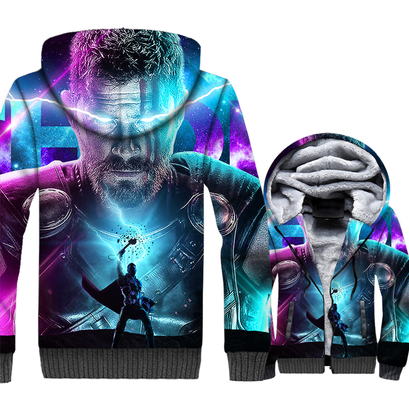 thick warm wool liner brand tracksuits Thor Odinson 3D print hooded jackets Super hero hip-hop coats men 2019 winter sweatshirts