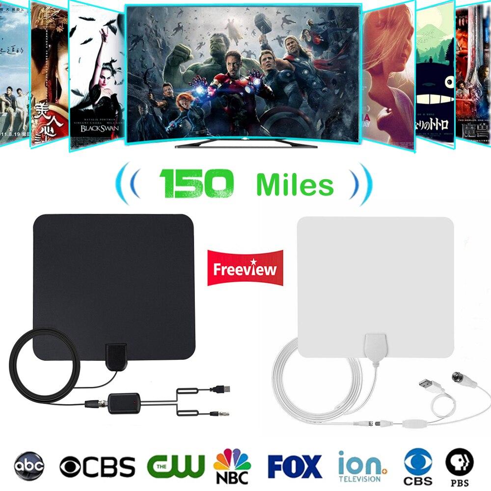 Antenne d'intérieur HDTV numérique 150Mile antenne de télévision HD plate Ultra-mince amplificateur de Signal amplificateur VHF UHF DVB-T T2 ATSC ISDB