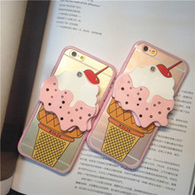 Newest cellphone case 3D Cartoon Silicone Case For iPhone 6 6 plus Cherry Ice Cream Cone