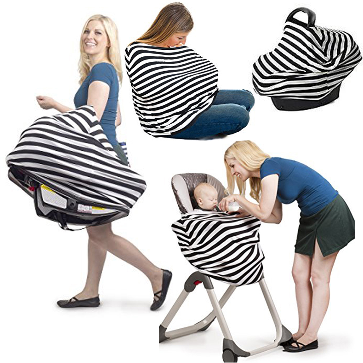 3 in 1 Infant Striped Baby Car Seat Cover Rayon Nursing Cover Car ...