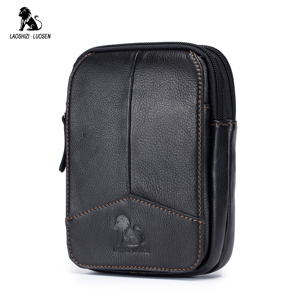 LAOSHIZI LUOSEN Phone Cigarette Purse Fanny Pack Waist Bag Leather Hip Bum Money Belt Bag Waist Packs Men Belt Pouch Bags 2018