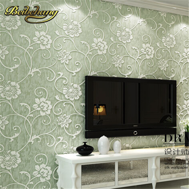 ФОТО beibehang Non-woven wallpaper Modern Floral Wall paper 3D papel de parede luxury European wall paper for living room grey sliver
