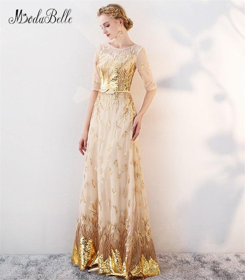 Modabelle or Sequin robe de bal avec manches modeste 2018 étage longueur robes de célébrité élégant robes robe de soirée formelle - 4