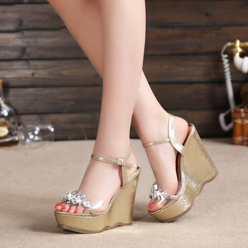 2018 New Gold Platform Wedges Sandals Female Summer Sandal Silver Heels Rhinestone Buckle Transparent Casual Shoes For Woman rhinestone silver women sandals low heel summer shoes casual platform shiny gladiator sandal fashion casual sapato femimino hot