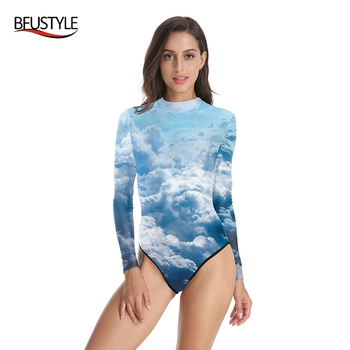BFUSTYLE Sky Clouds Print Women Long Sleeve Swimwear One Piece Silm Monokinis High Waist Diving Beachwear