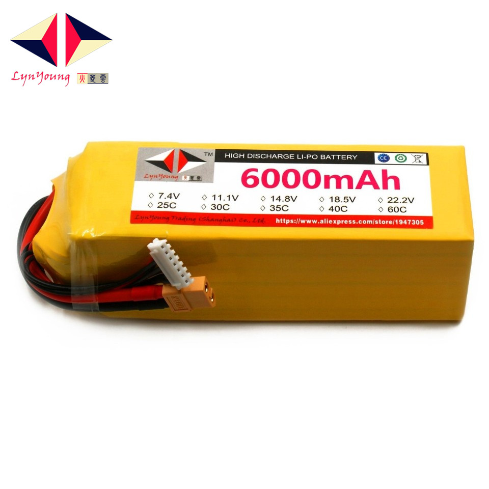 LYNYOUNG 6S lipo battery 22.2V 6000mAh 30C MAX 60C for RC car drone helicopter airplane quadcopter part gdszhs power 22 2v 6000mah lipo battery 30c 6s battery lipo 22 2v 6000 mah 30c 6s lithium polymer batterie for rc car