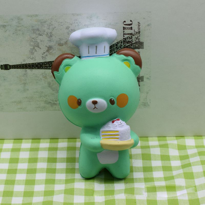 12CM Fun Kawaii Little Bear Cook Cake Squishy Toys Cell Phone Straps Kids Toys Gift Squishies Toys For Children Gifts