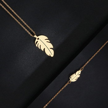 CACANA Stainless Steel Sets For Women Feather Shape Necklace Bracelet Earring Jewelry 4