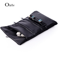 Oirlv High Quality Black Folded Jewellery Bag For Rings Necklace Watch Bracelet Pouch Custom Logo Leather