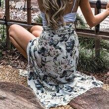 122c348d55 Verano estilo Casual irregular mujer playa boho falda maxi 2018 verde  strappy impreso Floral Lotus falda Wrap lace-up faldas