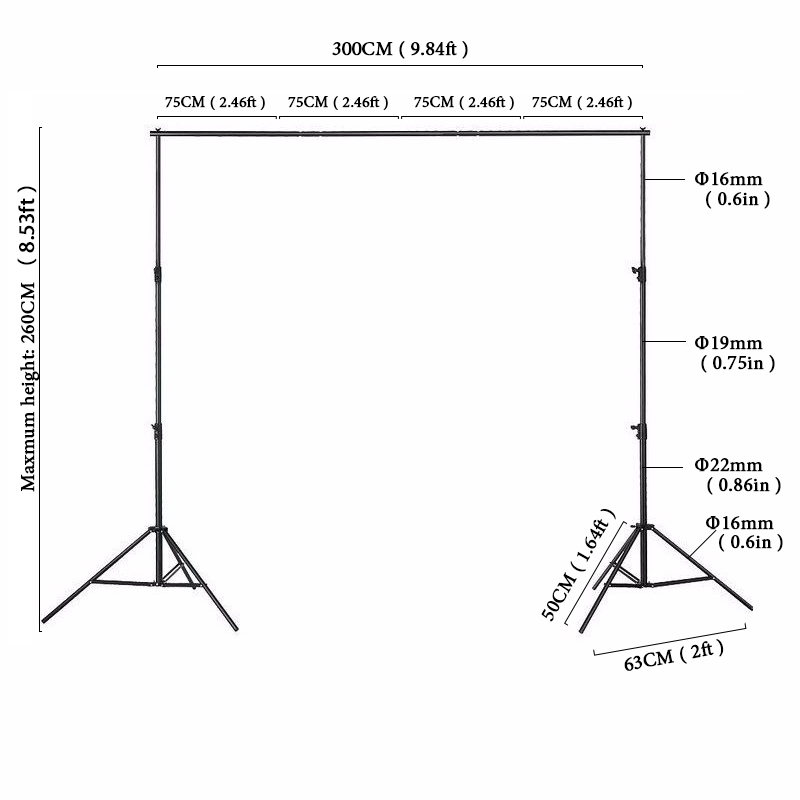 2 6x3m 8 5x10ft Photographic Equipment Black Background Frame Manual Quality Aluminum Frame Background Stand For