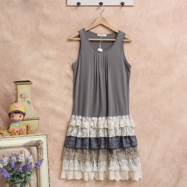 robe femme tunique harajuku crochet linen vestido Mori Girl Lace ruffle lolita hippie boho bohemian vintage women summer dress